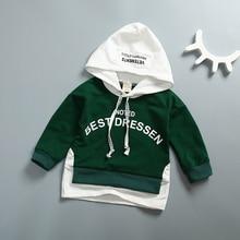 Фотография Baby Boy Girl Long Sleeves Clothing Autumn Hoodies Cotton Sweatshirt Kids Hip-hop Outfits Fake 2 Pieces Tops Children