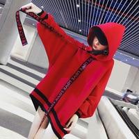 kpop BTS Spring cotton autumn red Medium and long section women hoodies korean loose hooded Harajuku sweatshirts women clothes