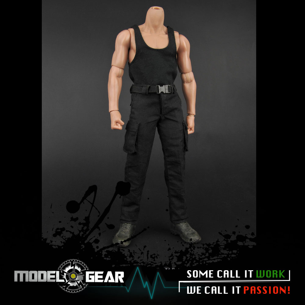 1/6 Scale ZY Toys ZYToys ZY16-12 Male Black Vest & Combat Pants Clothing Set Suitable for 12'' Action Figure Model Toy