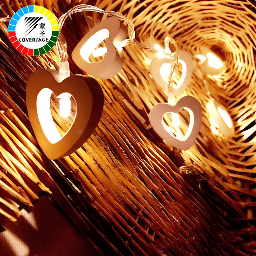 Coversage 10 Wooden Heart Led Battery Christmas Tree Garland String Xmas Decoration Outdoor Indoor Curtain Fairy Holiday Lights