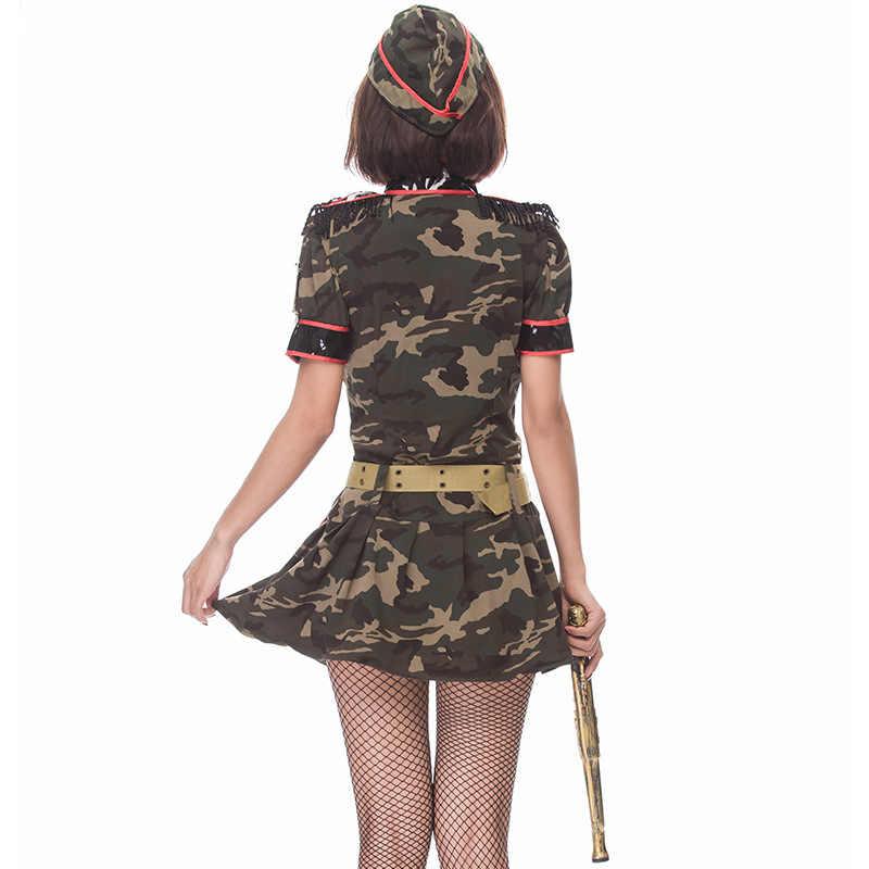 Сексуальный взрослый женский армейский зеленый Косплей костюмы Супер военный камуфляж маскарадный костюм одежда для косплея на Хэллоуин полицейский костюм 3 шт