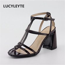 2019 women's sexy Roman sandals microfiber material bare straps women's shoes large size high-heeled cross straps women's sanda