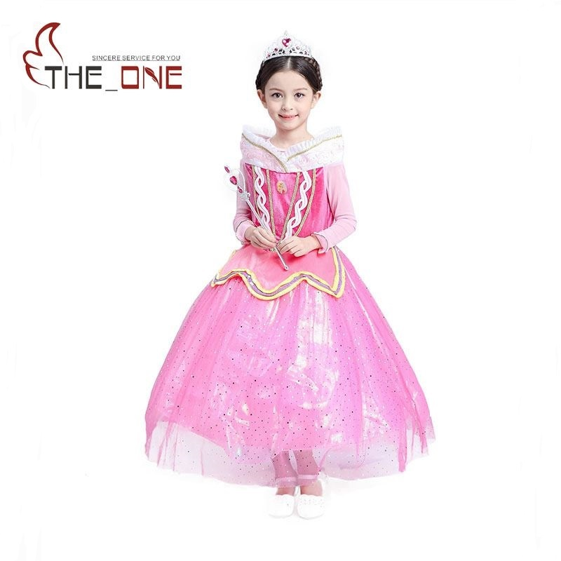 Girls Sleeping Beauty Princess Party Dresses Children Gorgeous Aurora Long Sleeve Cosplay Costume Clothing Kids Tutu