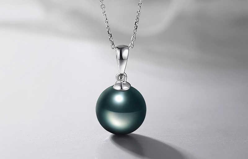 """Link """" pokaż dane kontaktowe """"srebrny certyfikat! Yanleyu 100% 925 Sterling Silver biżuteria czarna perła wisiorek naszyjnik dla kobiet prezent urodzinowy PN041"""