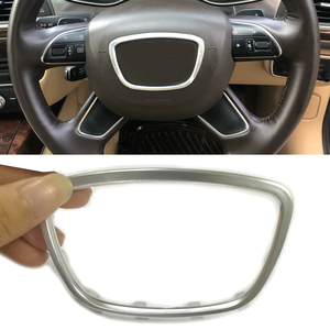 Image 1 - ABS كروم عجلة القيادة تريم مركز شعارات شعار إطار ملصق اكسسوارات لأودي A3 S3 8V A4 B8 B9 A6 C7 Q3 Q5 Q7