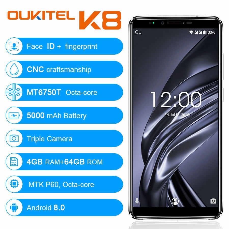 OUKITEL K8 18:9 フルディスプレイ 6.0 ''FHD 4 ギガバイトの RAM 64 ギガバイト ROM MT6750T オクタコア 13MP + 5MP 指紋顔 Id 5000 mAh 5 V/2A 携帯電話