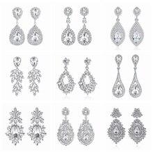 Minlover Siver Color Bride Drop Earrings for Women Teardrop Rhinestone Large Dangle Earrings 2019 Fashion Wedding Jewelry MEH003