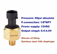 50psi A Pressure 12VDC 1 8 NPT Thread Oil Pressure Sensor Stainless Steel Diaphragm Oil Filling