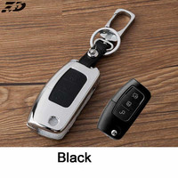 Zinc Alloy Leather Car Key Cover Case Shell Bag For Ford Fiesta Key Case Focus Ecosport