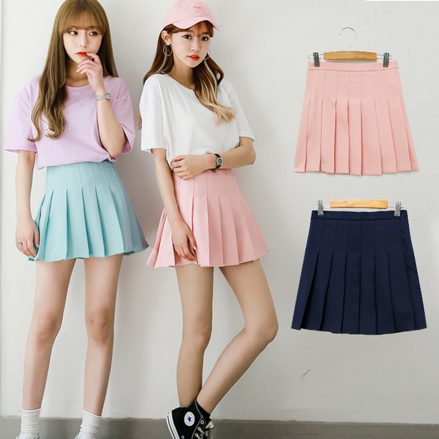 d88080fd261 Water color Japanese high waist pleated skirts JK student Girls solid  pleated skirt Cute Cosplay school uniform skirt
