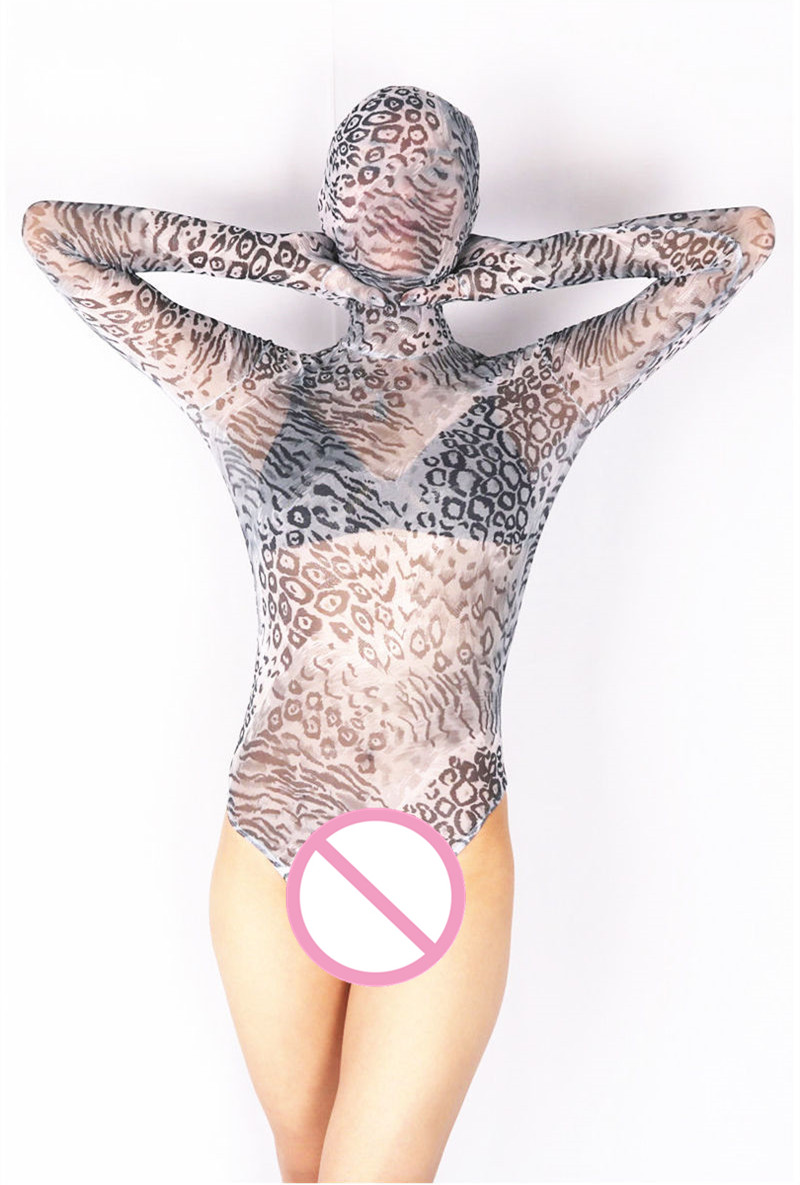 (MS009) Lycra spandex pattern translucent catsuit elastic sexy unisex tights bodysuit