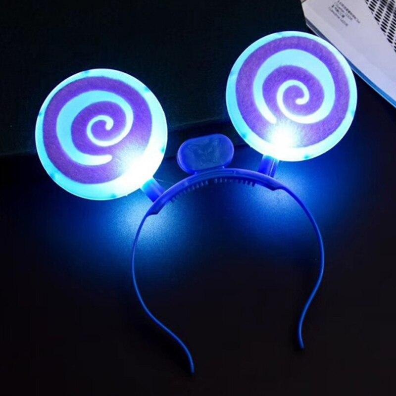 Christmas Halloween LEDFlashingGlow Headband Women Girls Lollipop Light Up Hairbands Hair Accessories Glow Party Supplies (3)