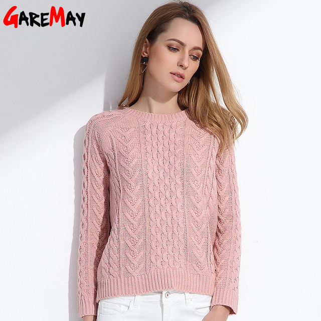 fc78626a790b GAREMAY Women Retro Pullover Pink Sweater Jacquard Spring 2018 Women Slim Pull  Femme Knitted Long Sleeve Sweaters Ladies Jumper