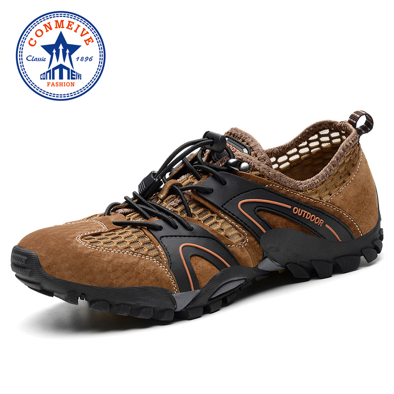 Summer Hiking Shoes Men Breathable Mesh+leather Outdoor Sneakers Mens Sandals Trekking Trail Water Climbing & Fishing Sandals camo summer breathable lightweight outdoor sport aqua water shoes men beach surfing sandals hiking trekking climbing sneakers