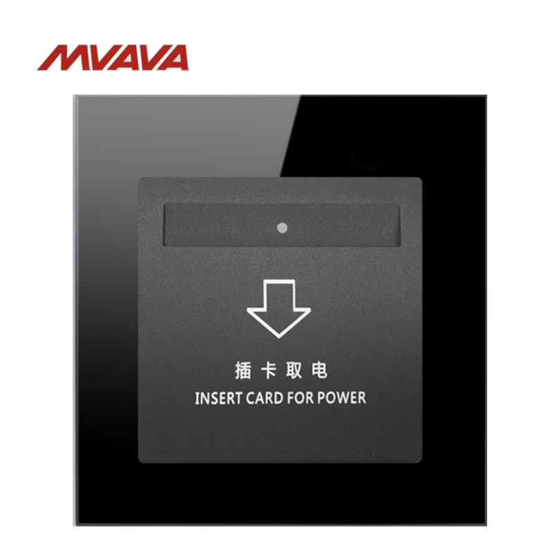 MVAVA Insert Hotel Card Electrical Supply Socket Luxury Card Power Receptacle Black Crystal Glass Free Shipping mvava insert hotel card electrical supply wall decorative socket card power receptacle luxury mirror black panel free shipping