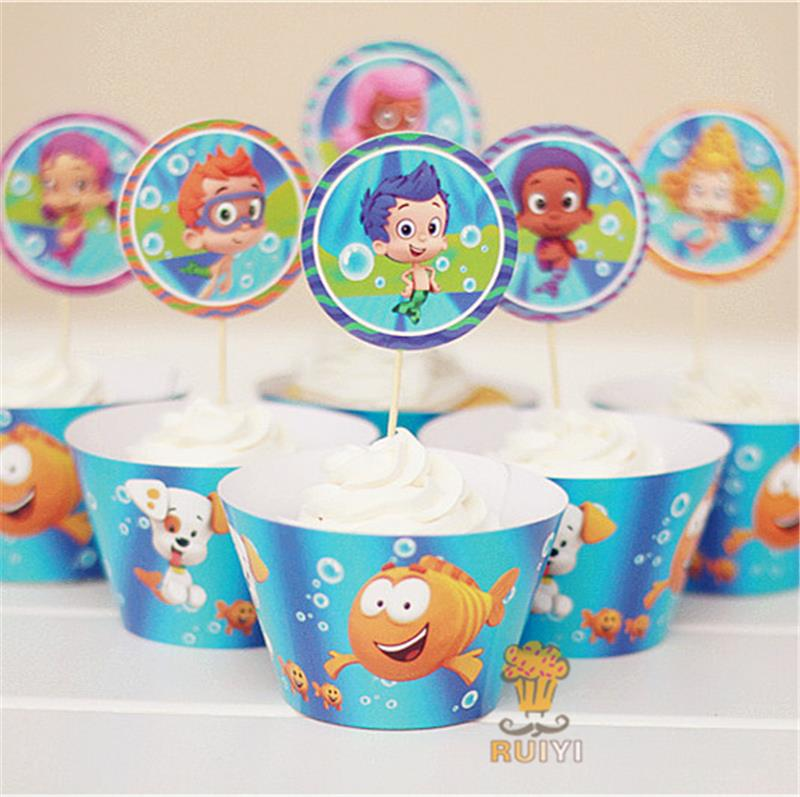 Pleasant 24Pcs Bubble Guppies Cupcake Wrappers Kids Birthday Party Favors Personalised Birthday Cards Veneteletsinfo