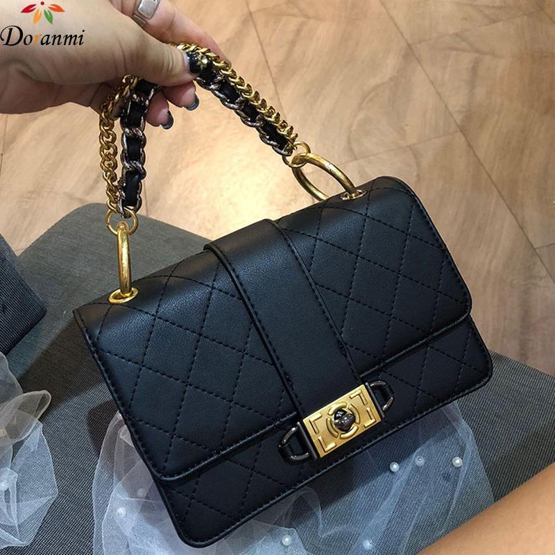 DORANMI Quality Leather Flap Bags 2019 Women's Chain Strap Shoulder Bag Female Crossbody Messenger Square Bolsos MUjer DJB584