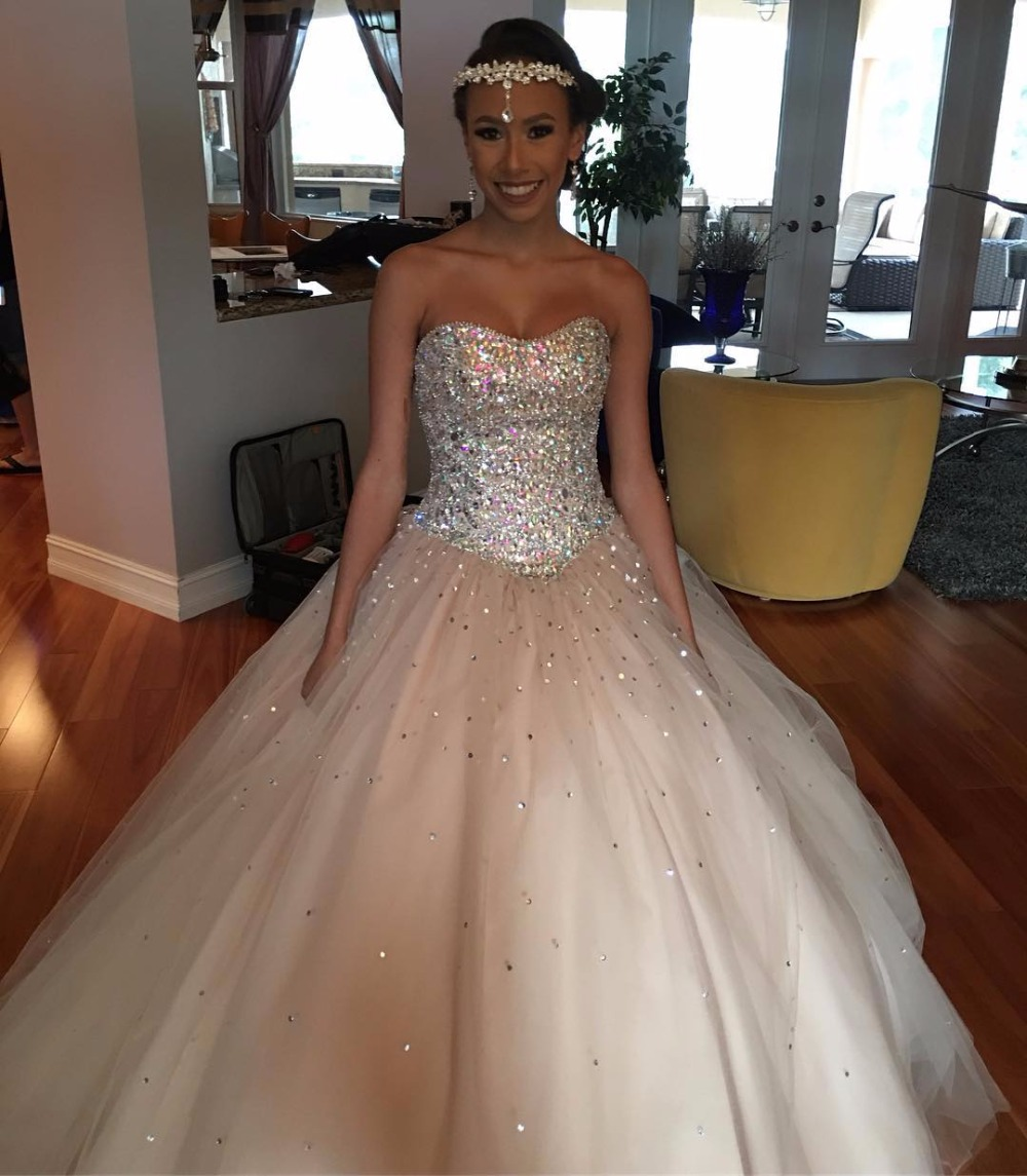 db535795608 Beaded Strapless Tulle Ball Gowns Champagne Quinceanera Dresses 2017-in Quinceanera  Dresses from Weddings   Events on Aliexpress.com