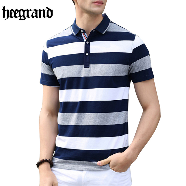 HEE GRAND 2017 High Quality Man Breathable Casual Polos Fashion Striped Men Short Sleeve Polo Shirts MTP400