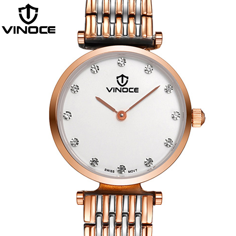 VINOCE Ultra Thin Top Brand Luxury 2018 Quartz Watch Women Stainless Steel Band Diamond Ladies Watches Fashion Montre Femme guou women watches luxury brand fashion quartz ladies ultra thin mesh band bracelet watch casual clock gift montre femme