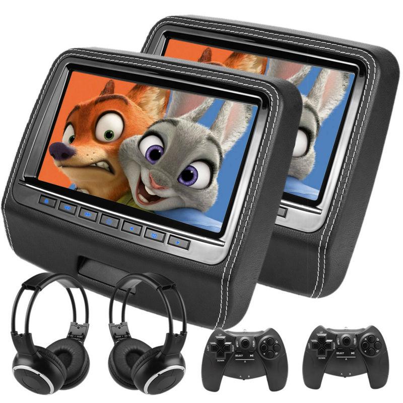 imágenes para 2x9 inch 1080 P de Todos Los Formatos Monitor Del Coche Reposacabezas Coche de la Pantalla Táctil Altavoz Incorporado Reproductor de DVD de Vídeo MKV MP4 DVD USB SD de 8 Bits juego