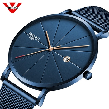 NIBOSI Men's Simple Top Brand Luxury Clock Slim Mesh Steel Waterproof Sport Quartz Watches