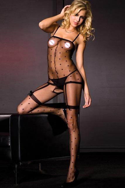 DL79592 Мода Sexy Women Чулки Спагетти Ремень Sheer ажурные тела чулок Высокая Эластичность Ткани Полька Dot Bodystockings