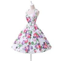 Women Summer Floral Print Retro Vintage 50s Polka Foral Casual Party Rockabilly Dresses Plus Size Vestidos