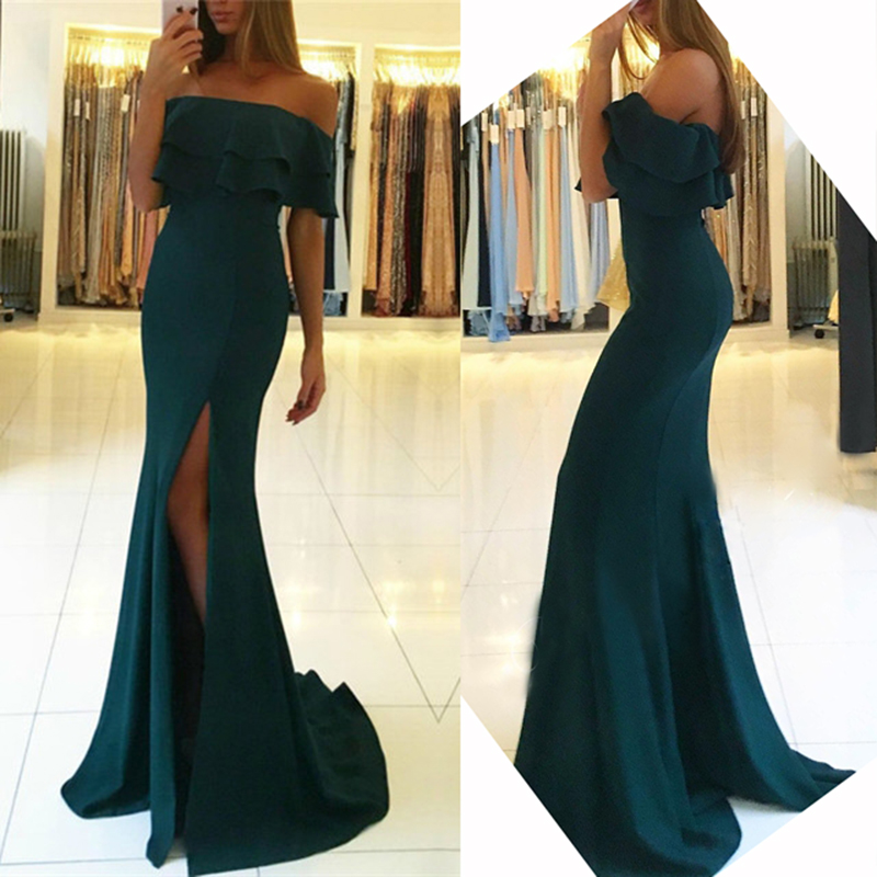 Sexy Boat Neck Mermaid   Bridesmaid     Dresses   2018 Simple Side Split Dark Green Women Prom   Dress   Vestido De Festa Prom Party Gowns
