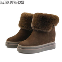 Winter New Height Increasing Platform Genuine Leather Snow Boots High Quality Cotton Shoes Comfortable Warm Women