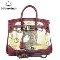 Famous Designer Catwalk Print Painted Women Tote Bag Platinum Genuine Leather Handbags Luxury Brand Lady Shoulder