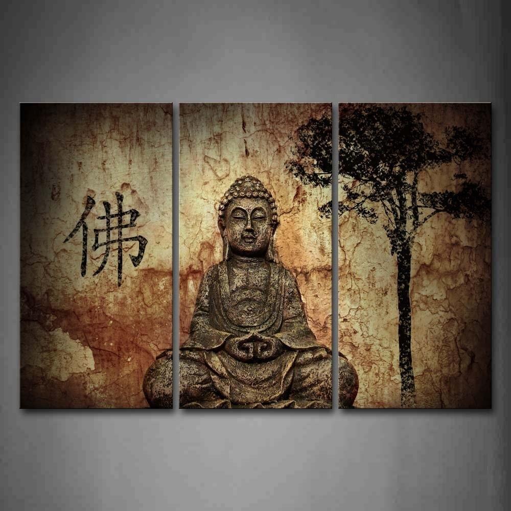 Náboženství Buddha v jeskyni s čínskými Fo nástěnné malby Obrazy Tisk na plátně pro domov Moderní dekorace Drop ship