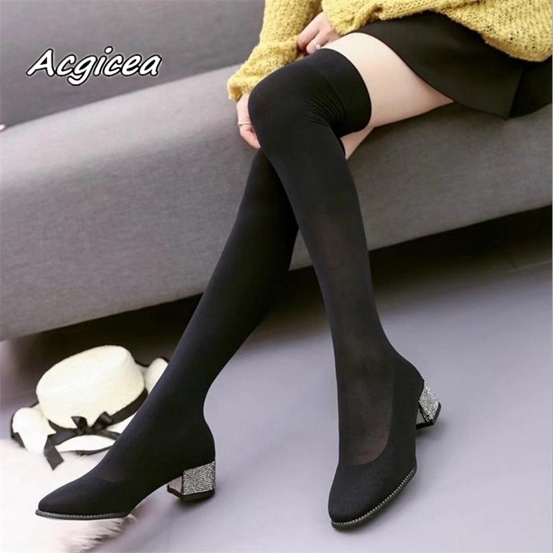 2018 Spring new rhinestone square head thick with knee boots female stretch socks boots s081