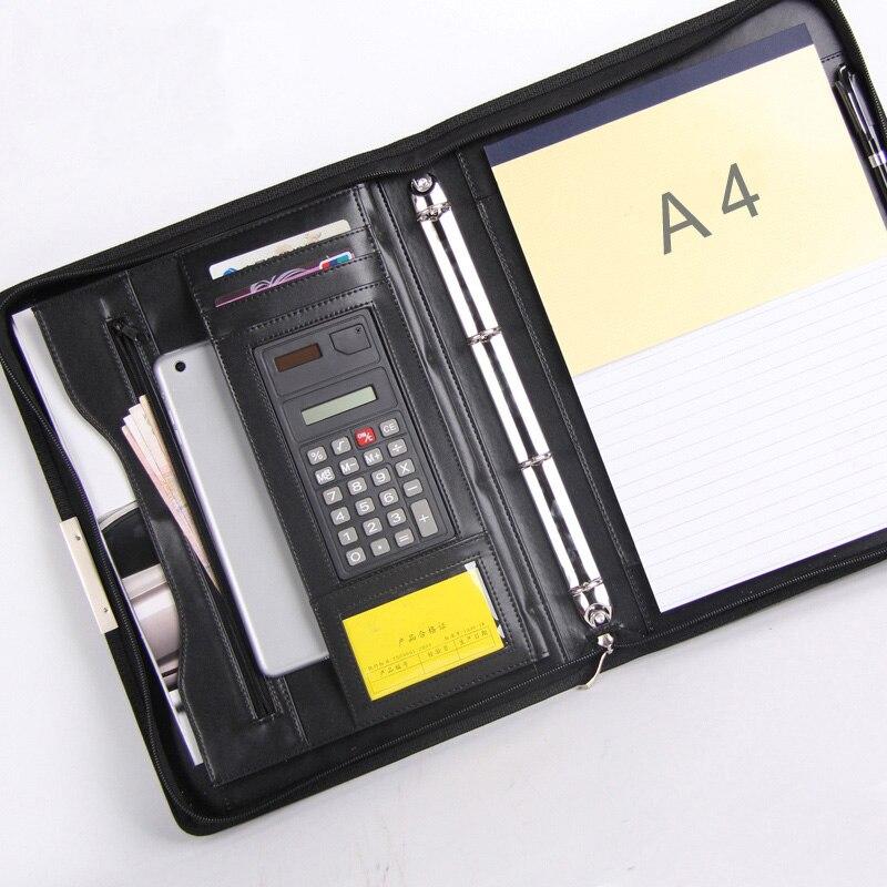 Accord d'affaires a4 cuir dossier dossier porte-documents gestionnaire de documents portefeuille portefeuille padfolio fermeture à glissière ipad anneau liant spirale 448C
