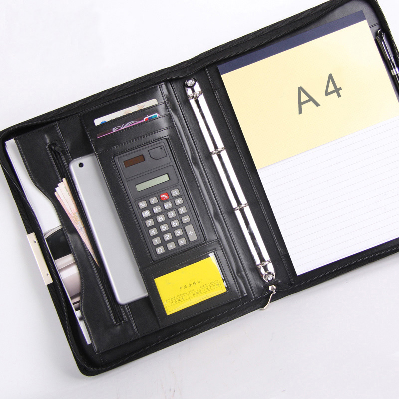 Business Agreement A4 Leather File Folder Briefcase Document Manager Bag Portfolio Padfolio Zipper Ipad Ring Binder Spiral 448C