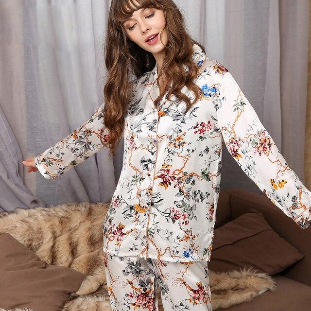 Noble Floral Fresco 100% natural silk mulheres pijamas Moda pintura Digital branco manga comprida genuine silk mulheres pijamas conjuntos