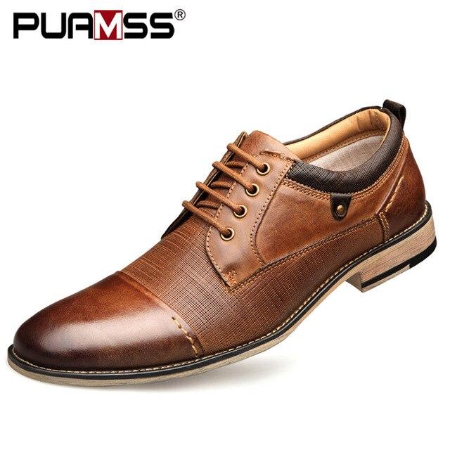 מותג גברים נעליים למעלה איכות אוקספורד בריטי סגנון גברים אמיתי עור שמלת נעלי עסקי נעליים רשמיות גברים דירות בתוספת גודל 50