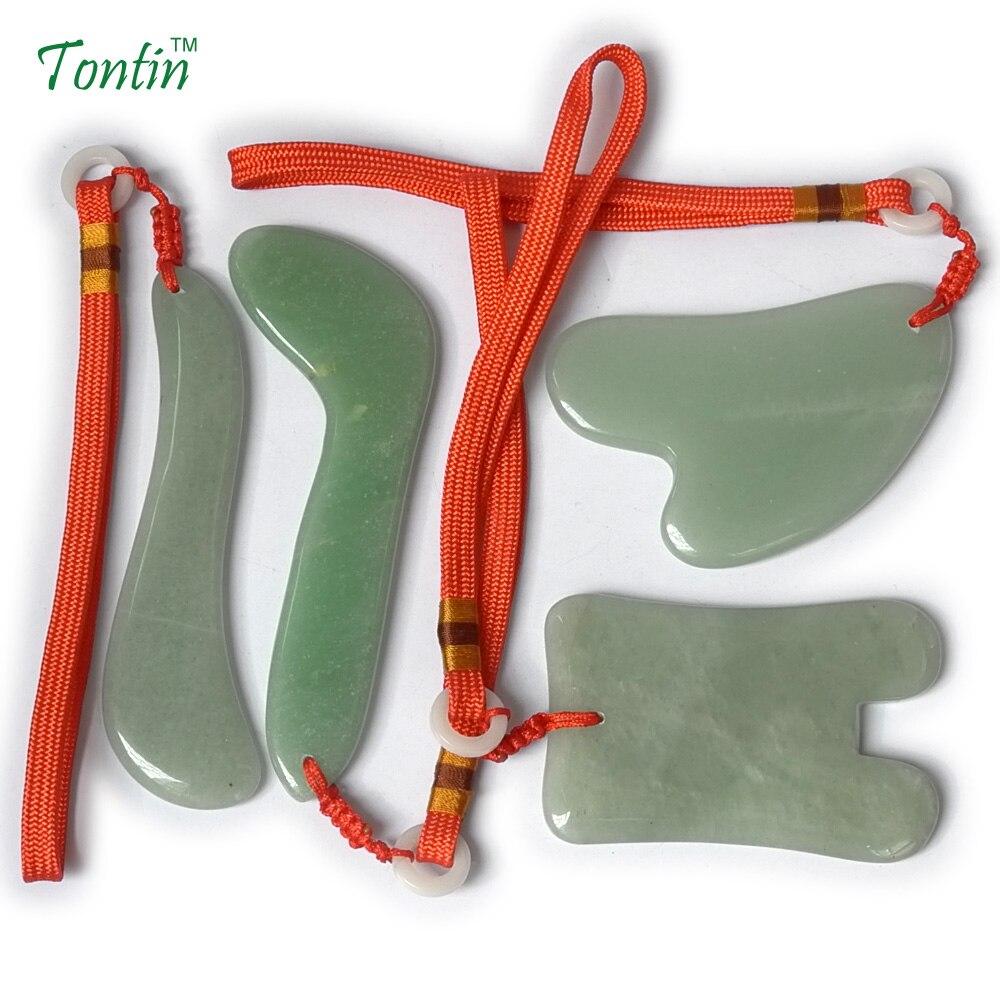 TONTIN Acupuncture Massage Guasha Tool SPA Beauty kit Natural Aventurine V face 4 pcs/set gift chart and bag