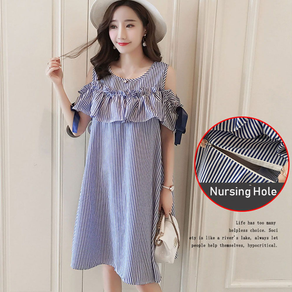 Maternity Dresses Ruffle Sleeve Dress Striped Pregnancy Blouses Maternity Nursing Clothes Breastfeeding Pregnant Women Vestdios