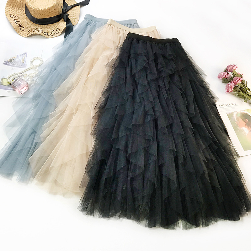 Wasteheart Autumn Women Fashion Black Blue Skirt Women High Waist Mesh Ruffles Ankle Length Long Skirt Clothing Asymmetrical