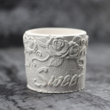 Nicole Silicone Cement Flowerpot Mold Round Shape with Embossed Patterns Handmade Concrete Mould