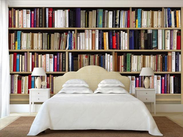 Woonkamer Met Bibliotheek : Custom d behang voor muren bibliotheek tv muur d foto behang
