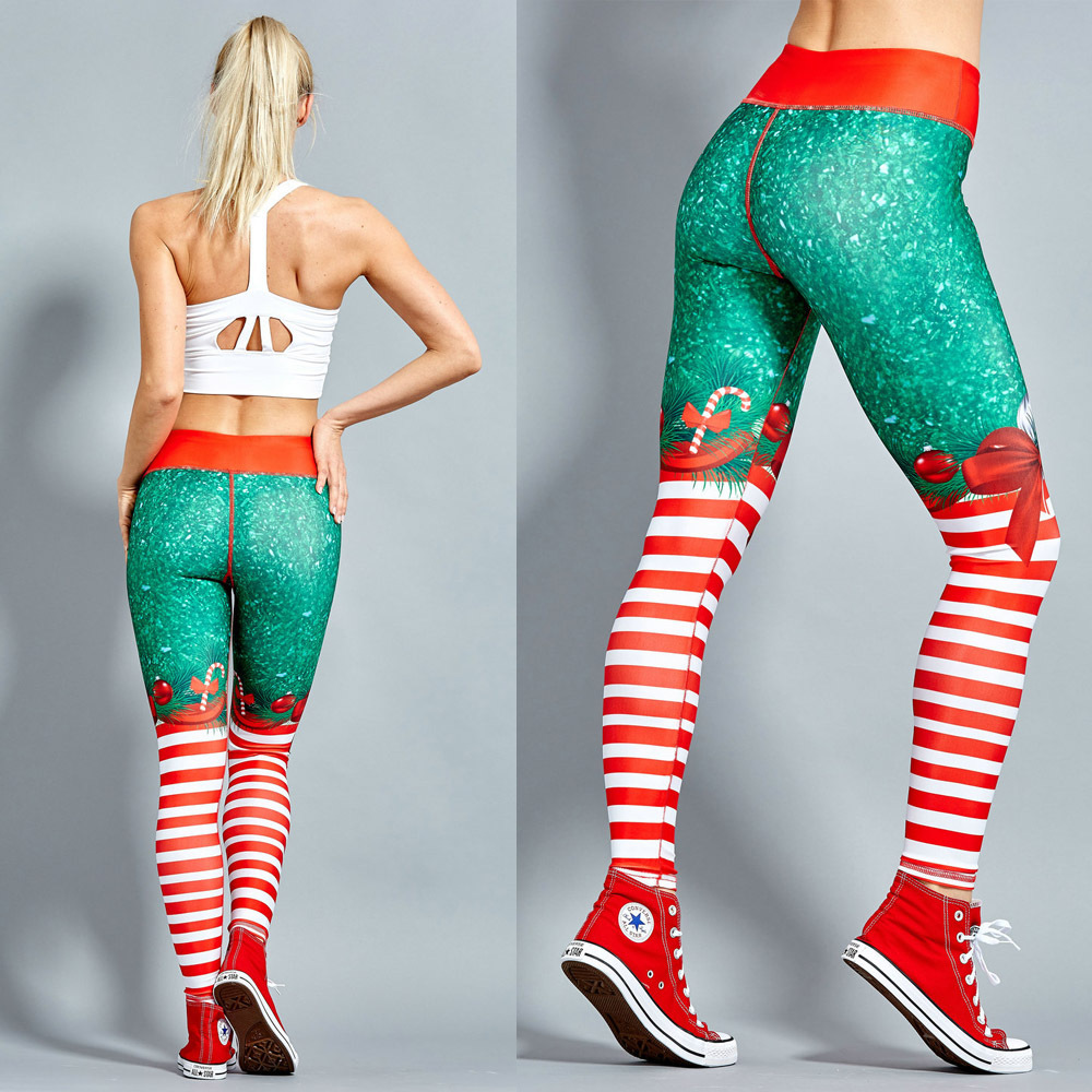 2018 Hayoha Weihnachten Druck Leggings Setzen Hüfte Elastische Hohe Taille Legging Atmungs Frohe Weihnachten Hosen
