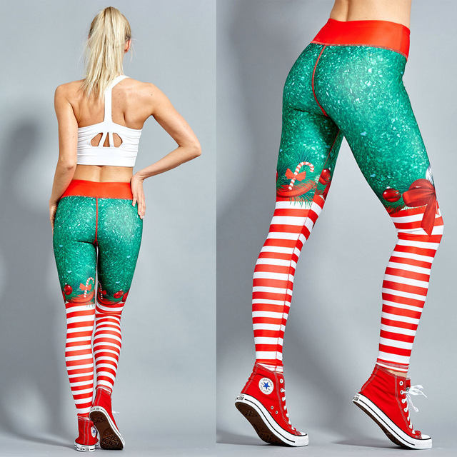 2019 Hayoha Christmas Printing Leggings Put Hip Elastic High Waist Legging Breathable Merry Christmas Pants
