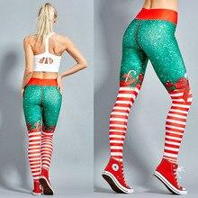 2019 hayoha natal impressão leggings colocar hip elástico cintura alta legging respirável feliz natal calças