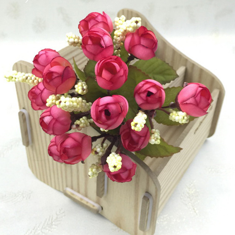 15Heads Mini Silk Peony Artificial Flowers Bride Bouquet For Wedding Home Party Decoration 3