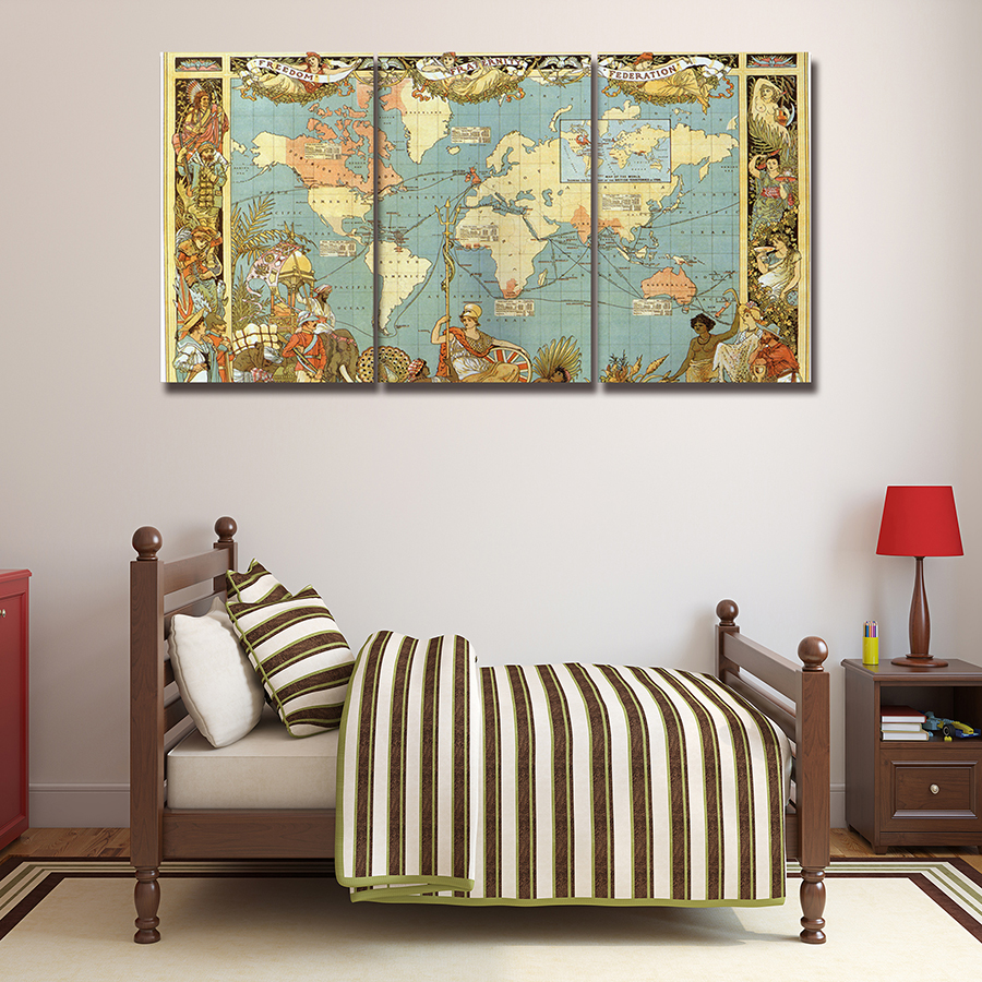 online buy wholesale medieval wall decoration from china medieval 3 panels the medieval world map wall paintings decor modern canvas wall art pictures for living