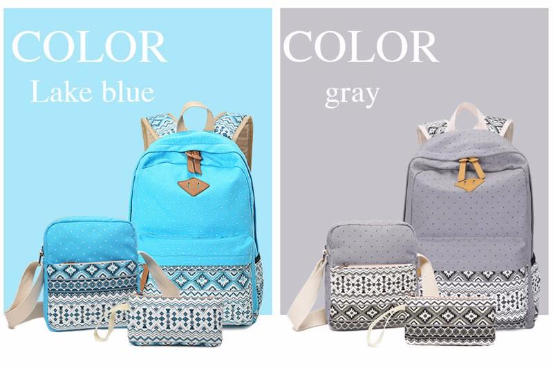 Canvas Printing Backpack Women School Bags for Teenage Girls Cute Bookbags Laptop Backpacks Female Bagpack 3 Piece one Set 17