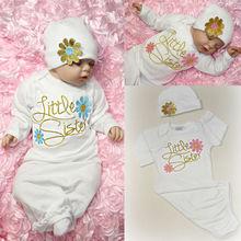 Симпатичная одежда для маленьких девочек Новорожденный Младенец Девочка взять домой детское платье Цветочный пижамы костюм шляпа пижамы