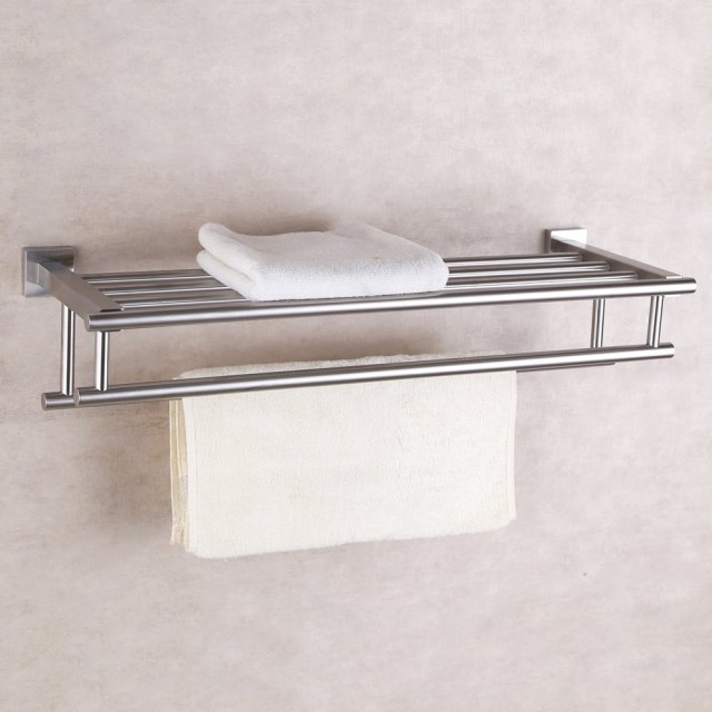 Brushed Finish 304 Stainless Steel Bath Towel Rack Wall Mount Bathroom Shelf  With Double Towel Bar